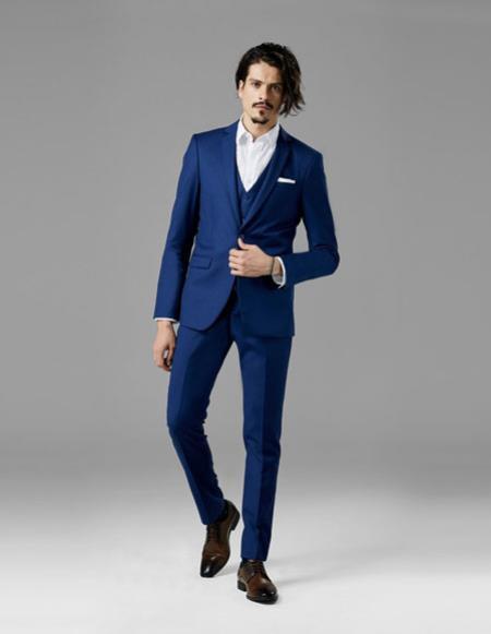 Mens Bright Blue best Suit buy one get one suits free Suit
