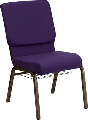 Hercules Collection FD-CH02185-GV-ROY-BAS-GG Multipurpose Church Chair with Book Rack  Communion Cup Holder  Contemporary Style  Floor Protector