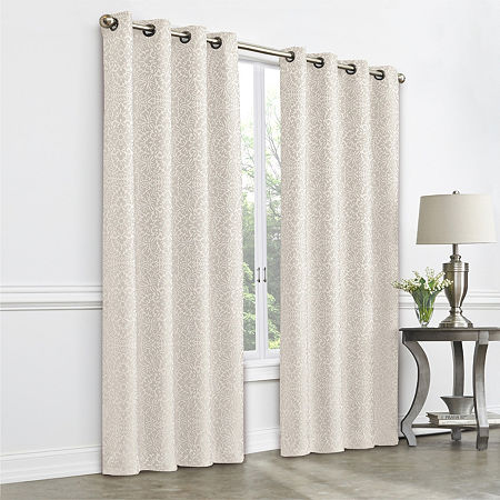 JCPenney Home Plaza Tapestry Blackout Grommet-Top Single Curtain Panel, One Size , Beige