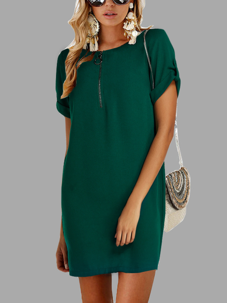 Yoins Green Button Design Round Neck Short Sleeves Dress