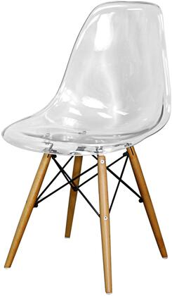 618132-TC-M Allen Collection 18 Dining Chair with Wood Base  Polypropylene Material  Solid Birch Wood Frame and Curve Shape Back  in Transparent