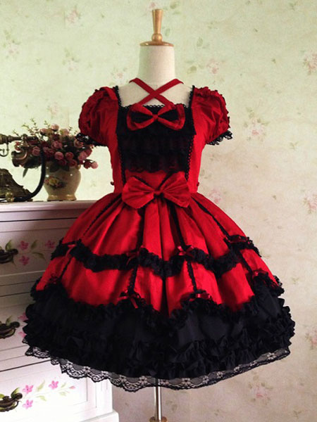 Milanoo Rococo Lolita Dress JSK Lace Ruffles Bow Decor Pleated Cotton Lolita Jumper Skirt