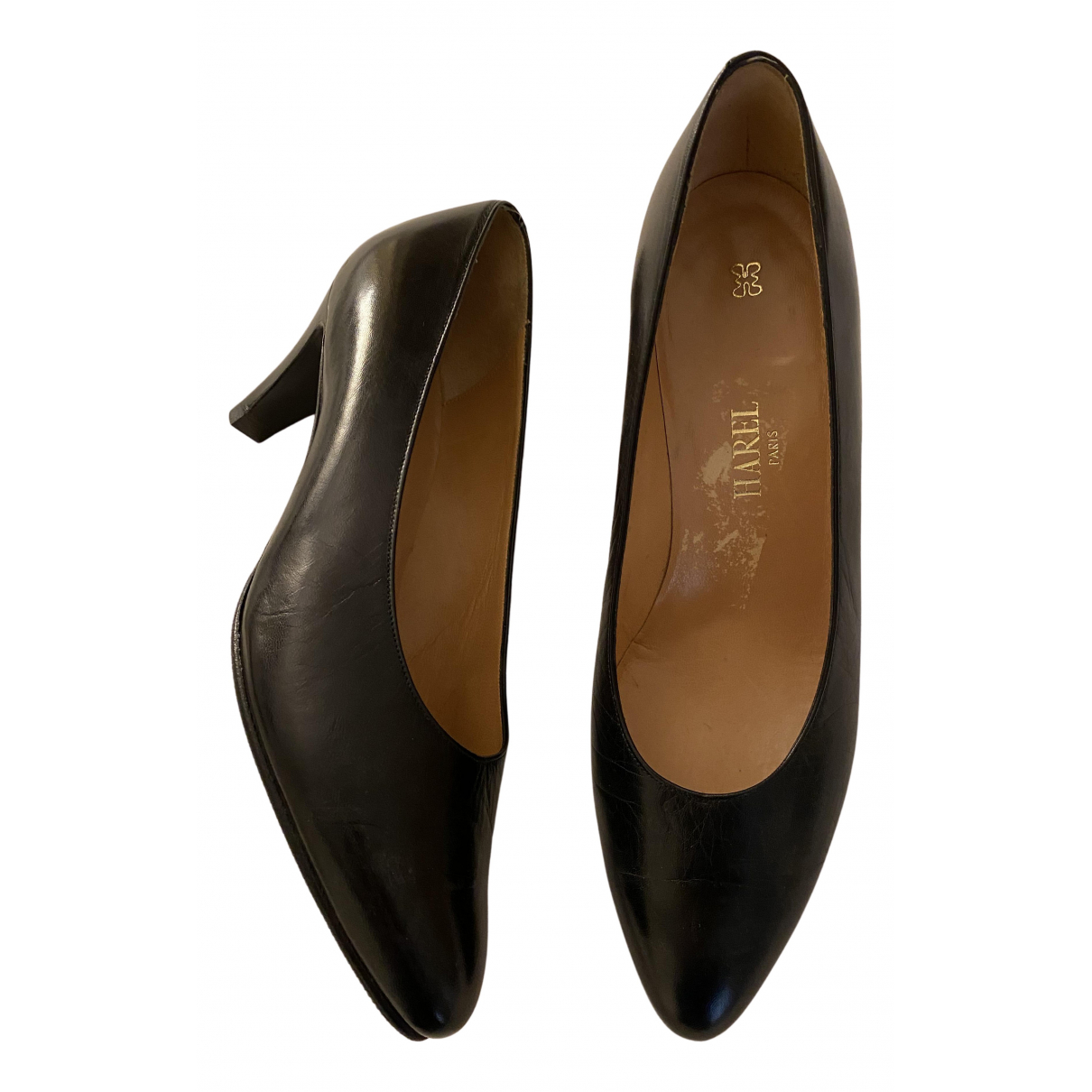 Non Signé / Unsigned N Black Leather Heels for Women 37.5 EU
