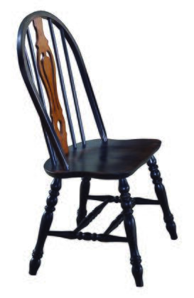 DLU-124-S-AB-2 Keyhole Dining Chair in Antique Black (Set of