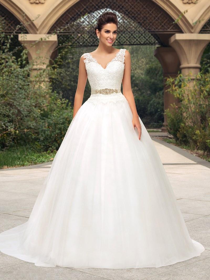 Classy Lace V-Neck Zipper-Up A-Line Wedding Dress