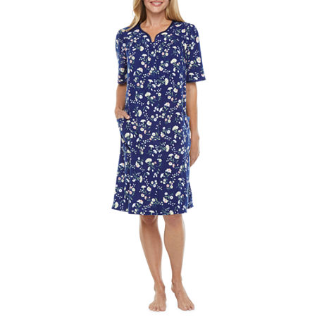 Adonna Womens Knit Robe Short Sleeve Knee Length, Small , Blue