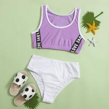Bikini Badeanzug mit Buchstaben Grafik