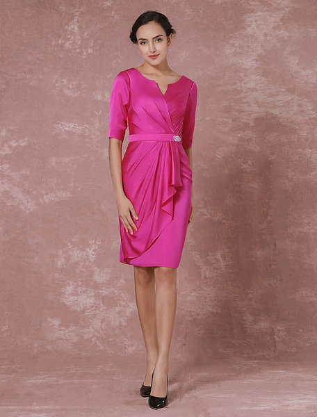 Milanoo Taffeta Mother Dress Half Sleeves Cocktail Dress Knee Leangth Pleated Fushia Party Dress Wedding Guest Dress