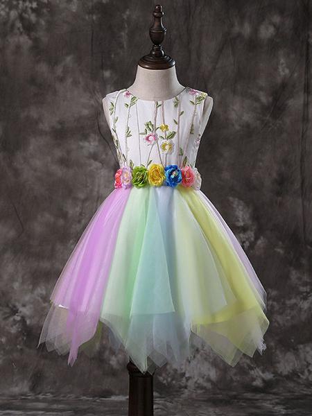 Milanoo Vestidos de niña de las flores Cuello de joya Tul Sin mangas Hasta la rodilla Flora iridiscente Faja Princesa Silueta Bordada Vestidos de fies