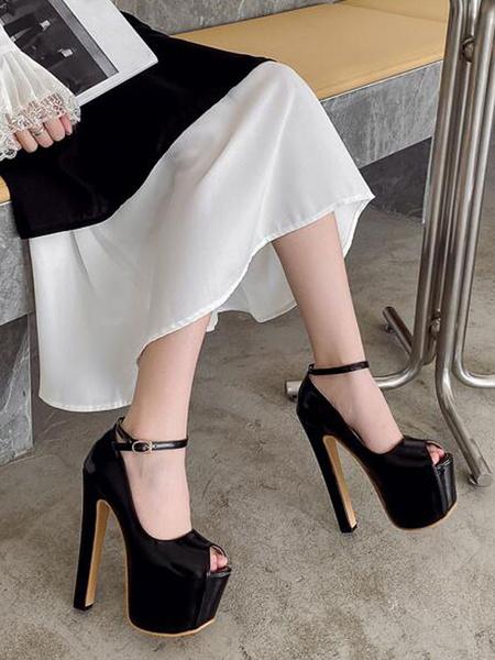 Milanoo Mujeres Sexy Tacones altos Albaricoque Peep Toe PU Cuero Sexy Stiletto Zapatos