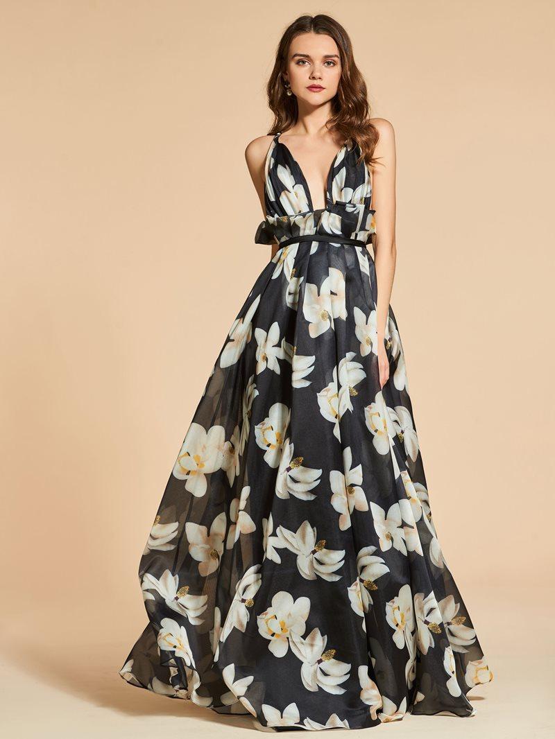 Ericdress A Line Floral Printing Evening Dress