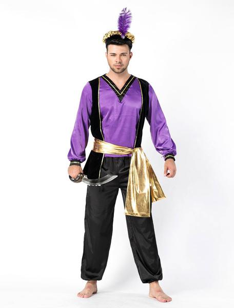 Milanoo Halloween Arabian Costume Men Purple Outfit