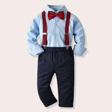 Toddler Boys Bow Neck Shirt & Suspender Pants