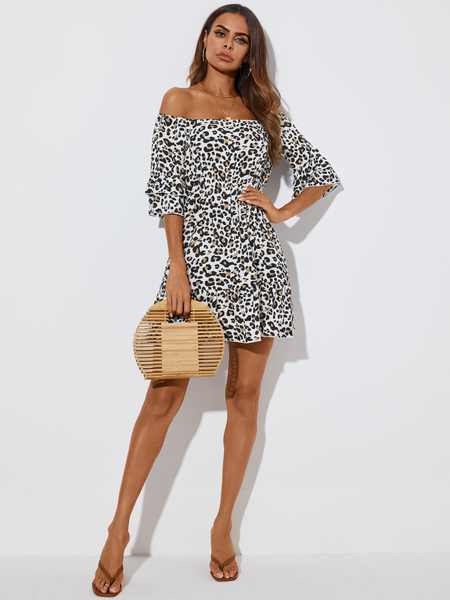 YOINS Leopard Tiered Design Ruffle Off the shoulder Half Sleeves Mini Dress