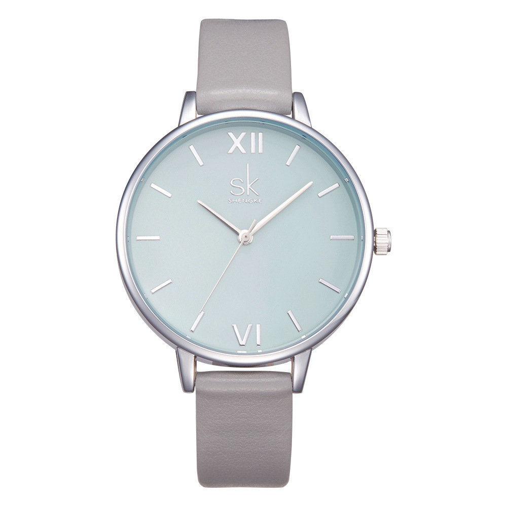 Trendy Waterproof Quartz Watch Simple Leather Round Dial Roman Numeral Wristwatch for Women