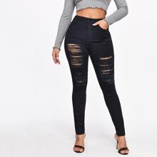 Slant Pocket Ripped Skinny Jeans