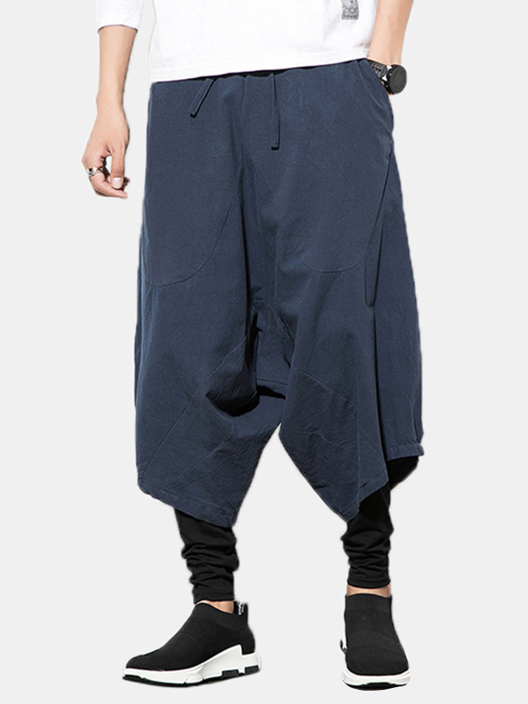 Mens Chinese Style Fake Two Pieces Super Loose Casual Harem Pants