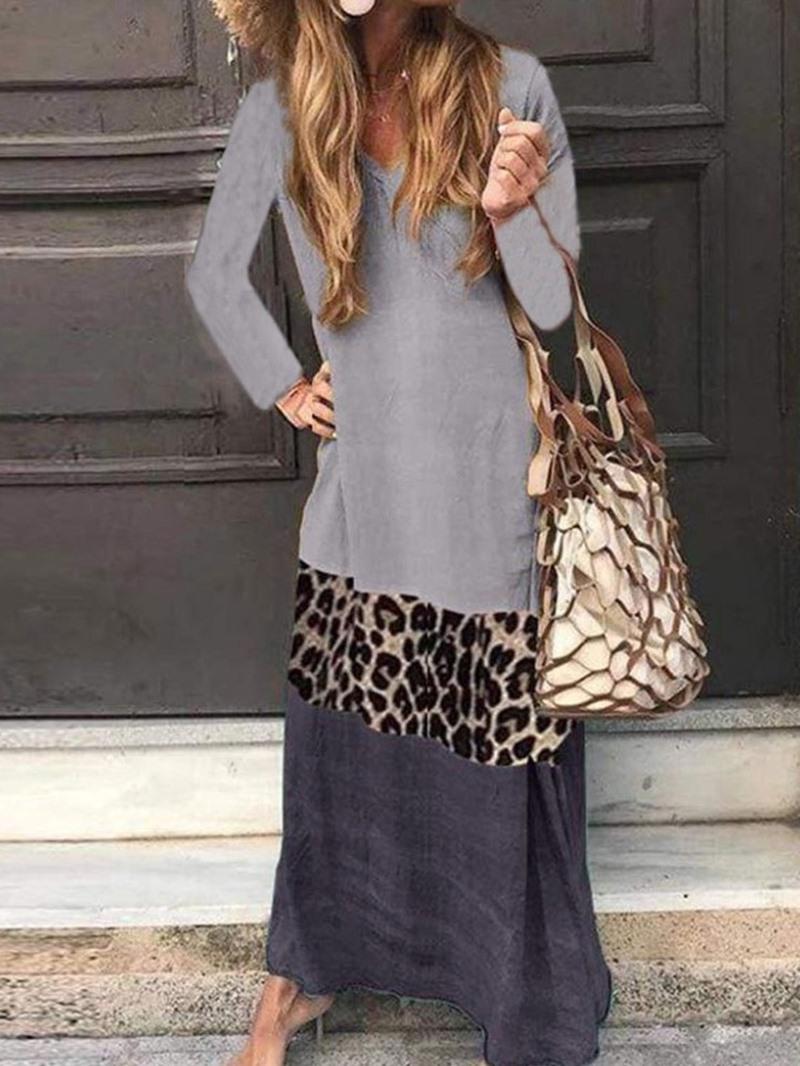 Ericdress Long Sleeve Patchwork V-Neck Travel Look A-Line Dress