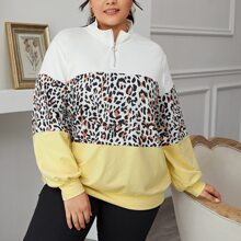 Pullover mit Leopard Muster, Farbblock und halber Knopfleiste