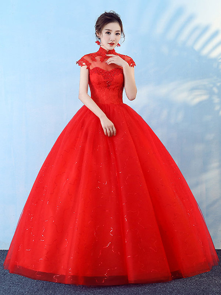 Milanoo Princess Wedding Dresses Ball Gown Red Lace Beading Stand Collar Floor Length Bridal Dress