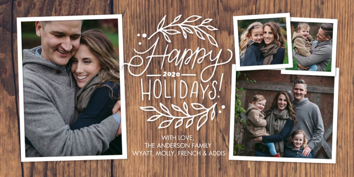 Holiday Photo Cards Flat Glossy Photo Paper Cards with Envelopes, 4x8, Card & Stationery -Holiday 2020 Woodgrain Foliage by Tumbalina