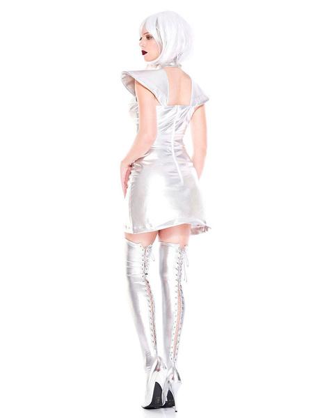 Milanoo Disfraz Halloween Disfraces de Halloween de Star Wars Vestido plateado Fiestas metalicas Disfraces alienigenas para mujeres Carnaval Halloween