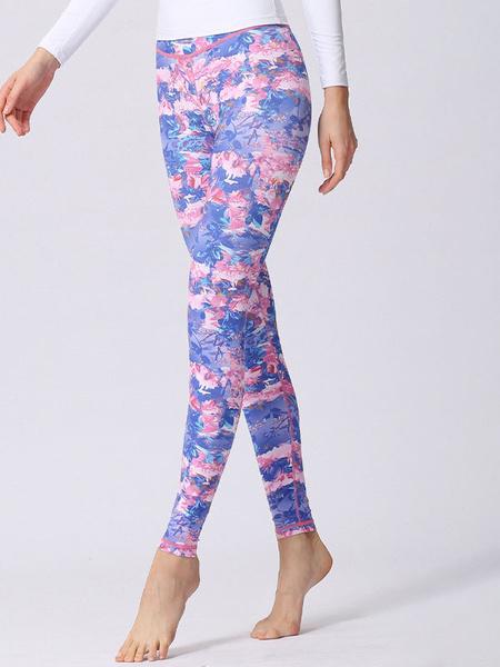 Milanoo Women\'s Clothing Yoga Pants Polyester Printed Pink Yoga Leggings