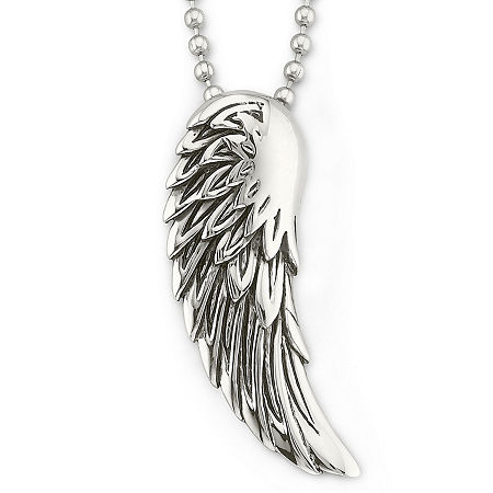 Mens Winged Pendant Necklace Stainless Steel, One Size , No Color Family