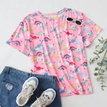Camisetas de Tallas grandes Dibujos animados Bebe Rosa Casual