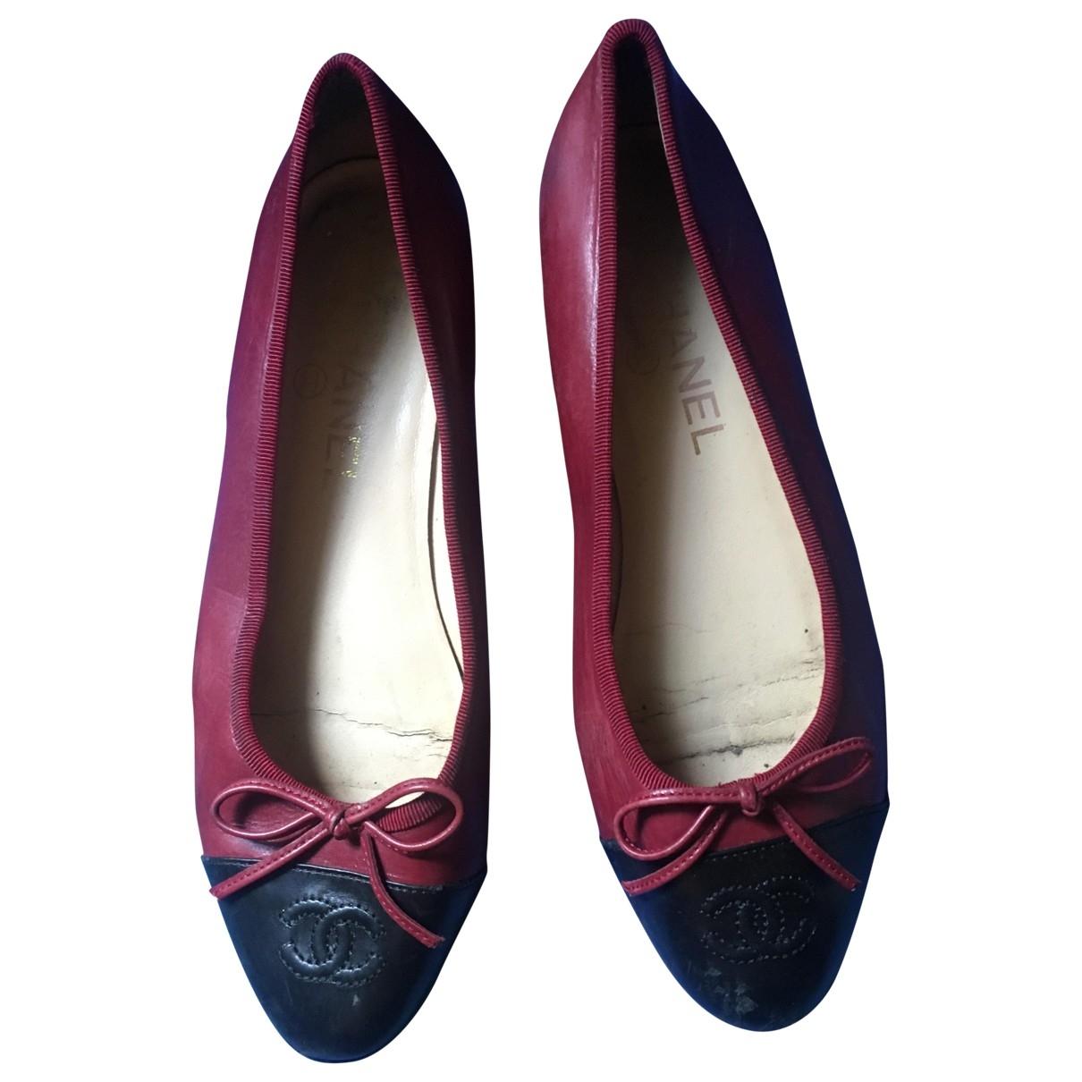 Chanel \N Burgundy Leather Ballet flats for Women 37 EU