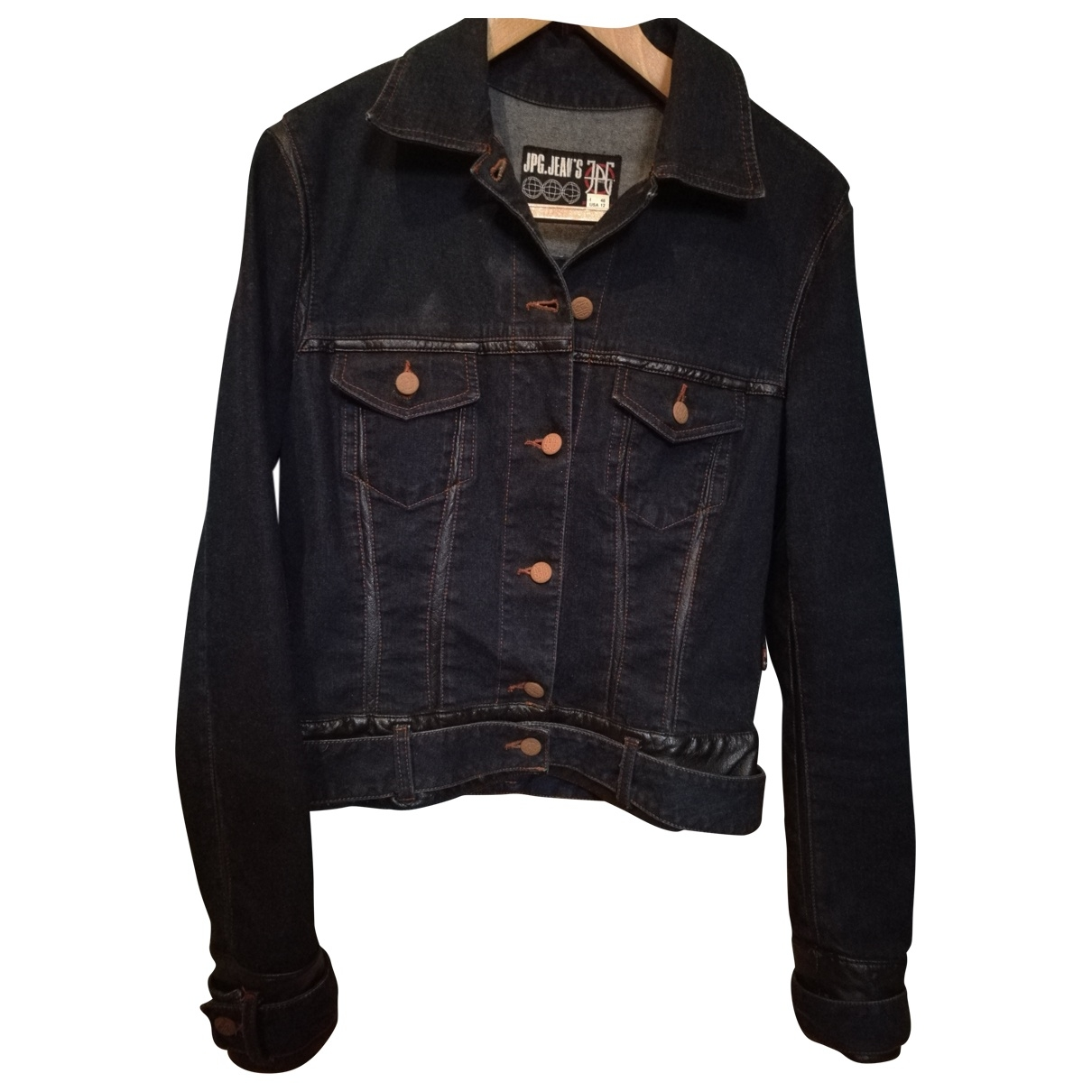 Jean Paul Gaultier \N Blue Denim - Jeans Leather jacket for Women 42 FR
