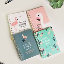 1 Pack Random Flamingo Muster Cover Spiral Notebook