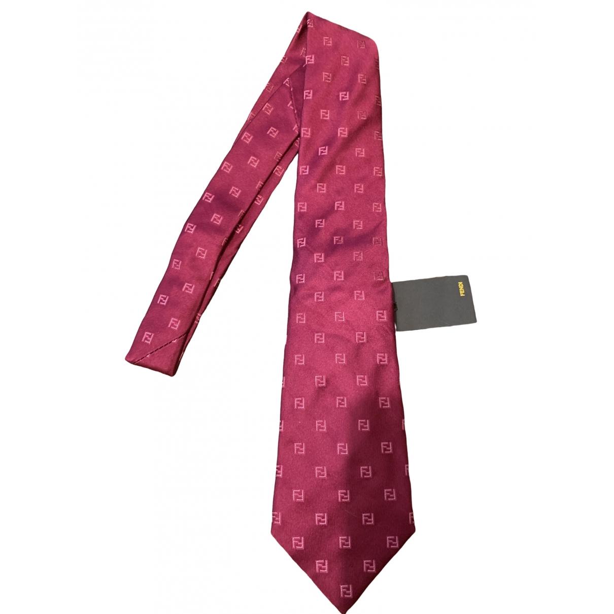 Fendi - Cravates   pour homme en soie - rose