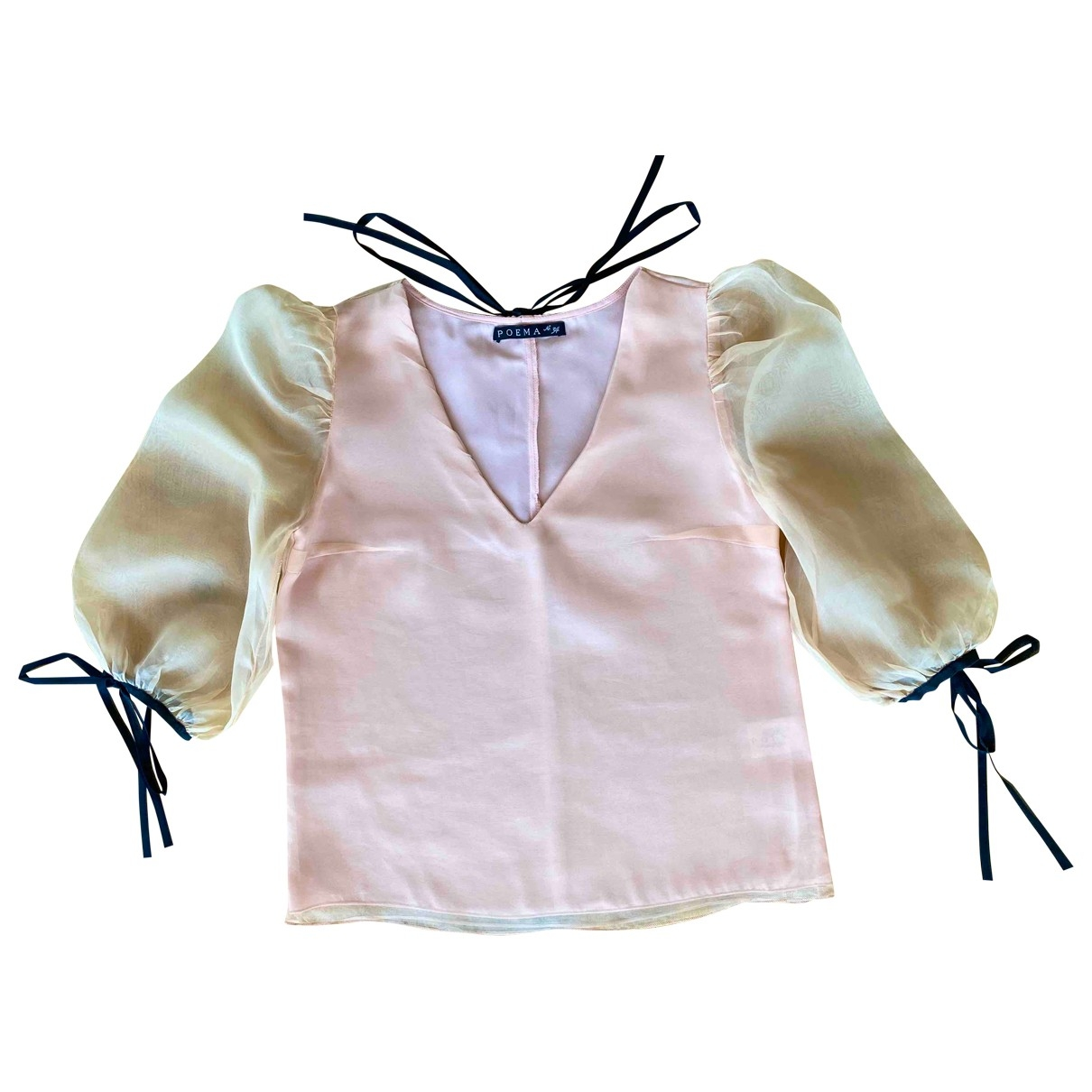 Non Signé / Unsigned Manche ballon Pink Silk  top for Women 34 FR