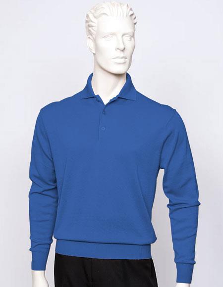 Tulliano mens Royal long sleeve silk/cotton fine gauge knitwear