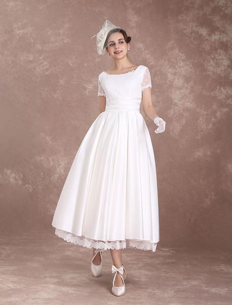 Milanoo Vintage Wedding Dress Short Sleeve 1950's Bridal Dress Backless Polka Dot Lace Trim Ivory Wedding Reception Dress