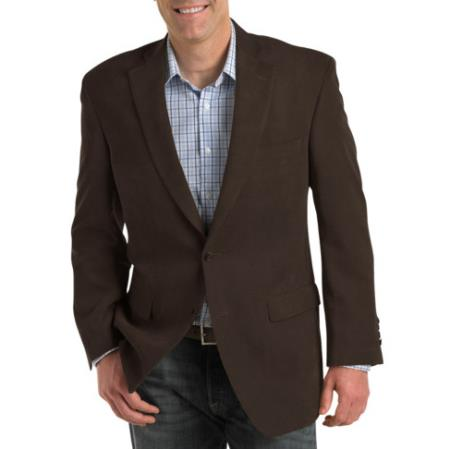 Mens Single Breasted Notch Lapel Blazer Brown