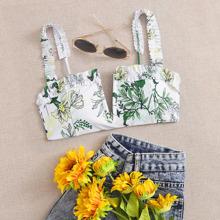 Floral Frill V Wired Bikini Top