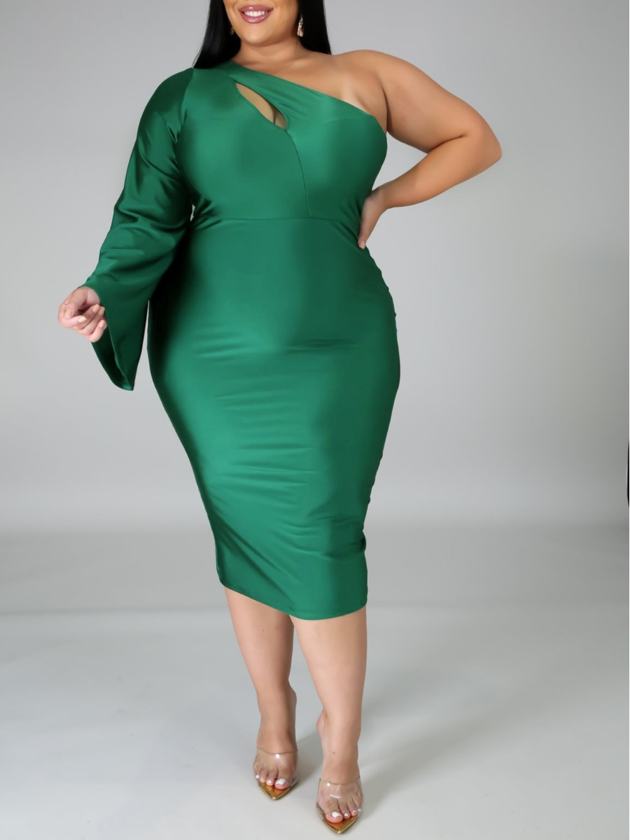 LW lovely Trendy One Shoulder Hollow-out Green Mid Calf Plus Size Dress