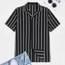 Men Revere Collar Striped Shirt