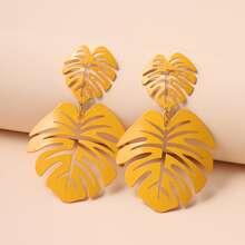 Yellow Leaf Drop Earrings
