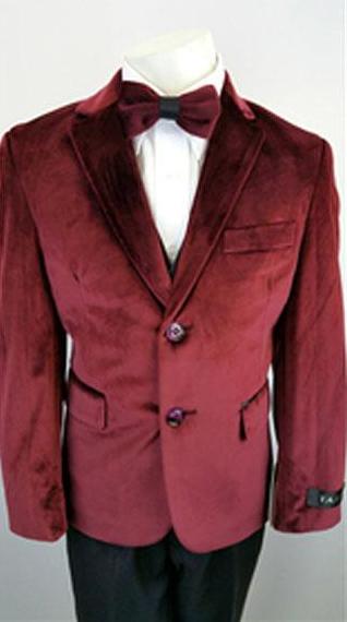 Kids Boys 2 Buttons Notch Lapel Velvet Burgundy Suit