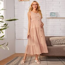 Maternity Button Front Tiered Hem Dress