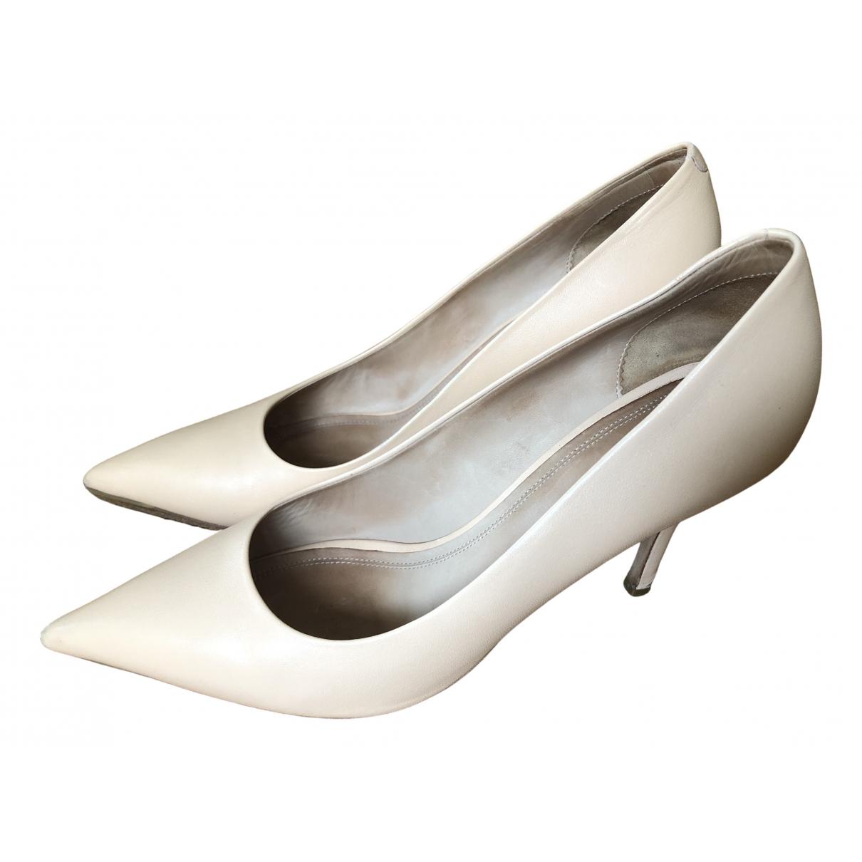 Celine Sharp Beige Leather Heels for Women 39 EU