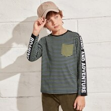 Boys Letter Graphic Tape Striped Tee