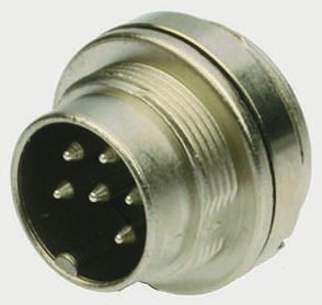 Binder Connector, 6 contacts Wall Mount Miniature Plug, Solder IP67