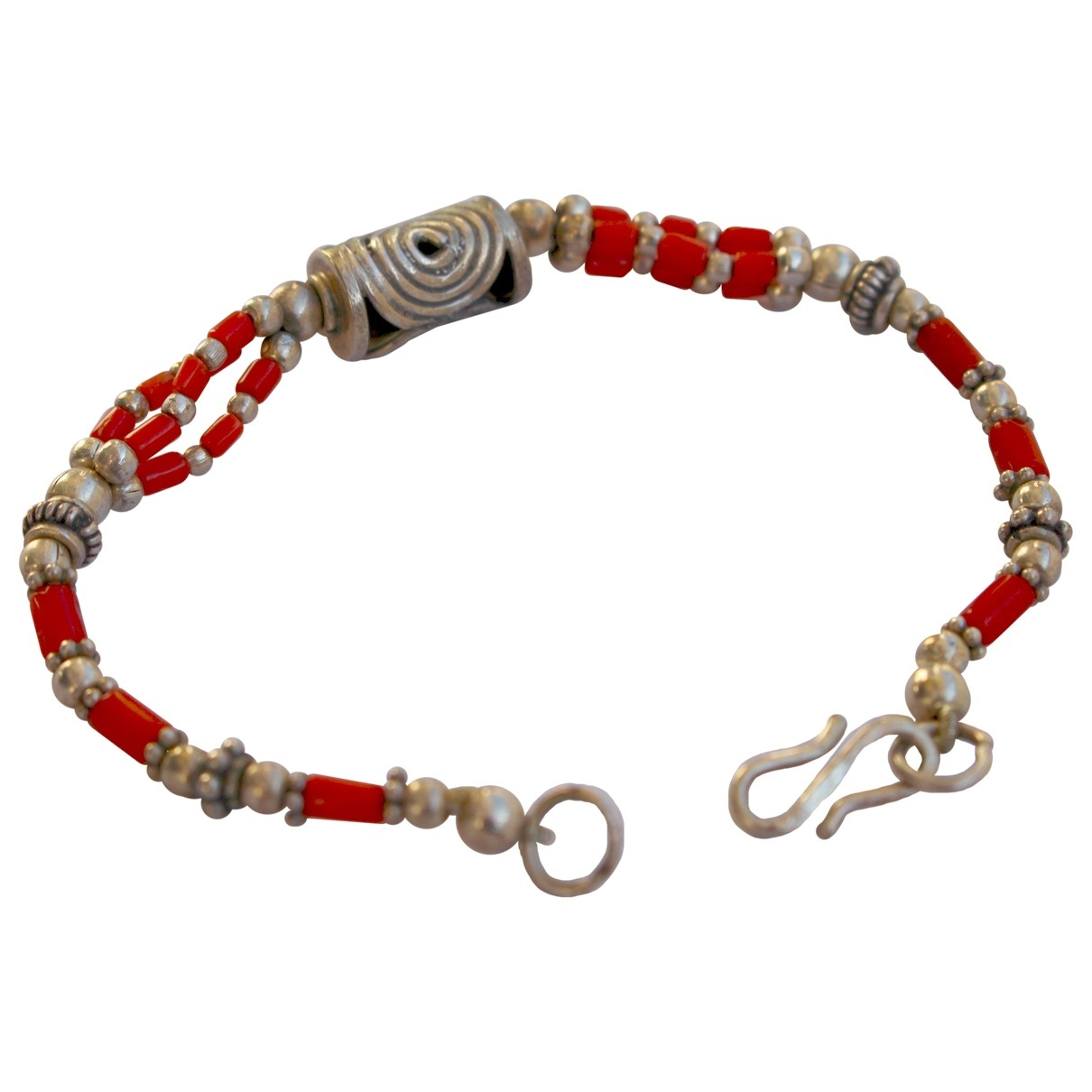 Non Signé / Unsigned Corail Red Silver bracelet for Women \N