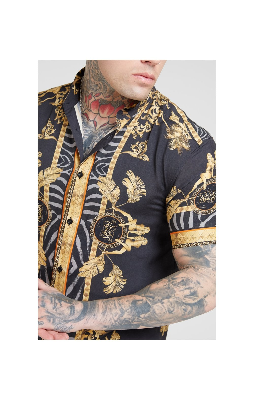 SikSilk High Collar Resort Shirt - Ocean Black MEN SIZES TOP: Small