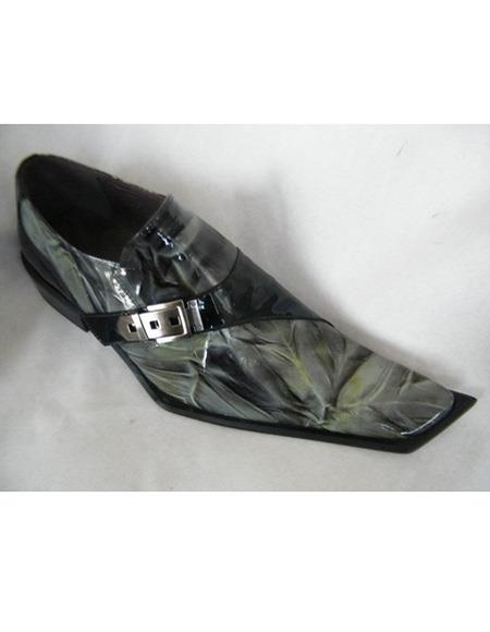 Men's Slip On Black ~ Green Leather Cushioned Insole Shoe