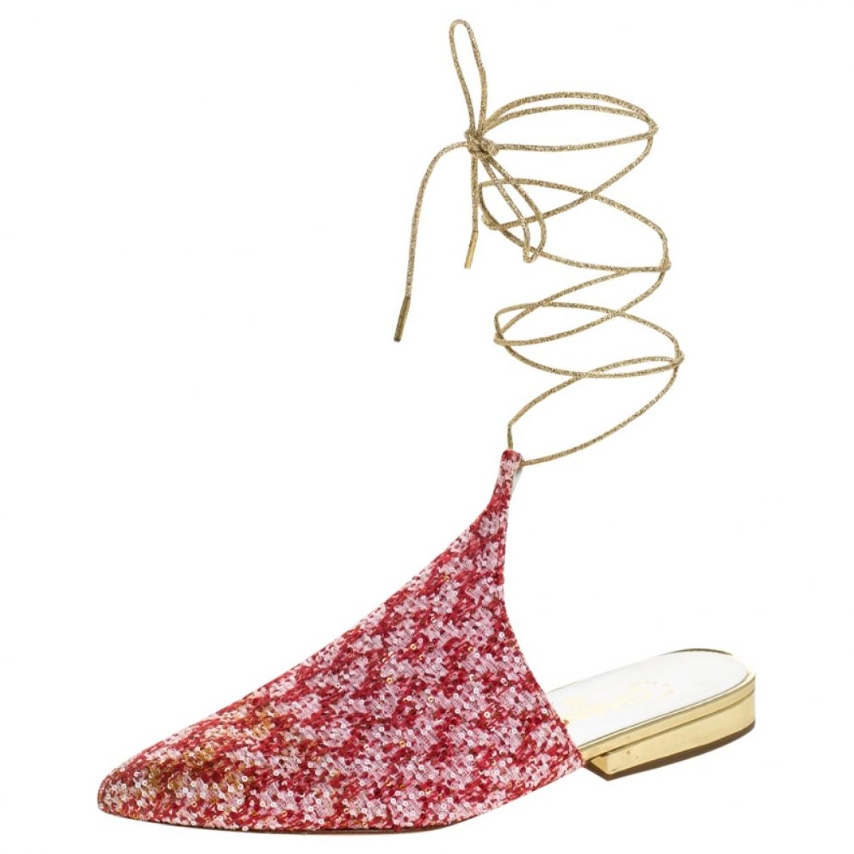 Chanel \N Sandalen in  Rot Tweed